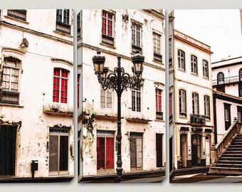 Canvas Art, Ponta Delgada Azores Portugal, Vintage, Historic, City, Building Exterior, Architecture, Photography, Stripes, Office Decor, Red