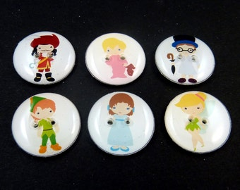 "6 Peter Pan Handmade Novelty Buttons.  6 Assorted Peter Pan themed Decorative Craft buttons. 3/4"" or 20 mm. Washer and Dryer Safe."