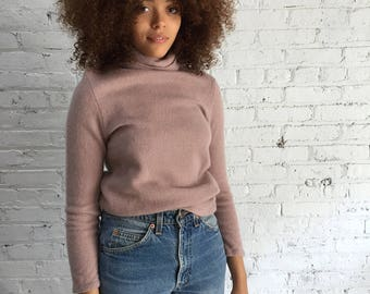 vintage dusty rose cashmere turtle neck / mauve cashmere sweater