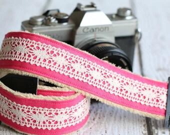 dSLR Camera Strap, Padded Camera Strap, Camera Strap for Canon or Nikon, dSLR Minky Camera Strap, dSLR Photography - Pink Linen and Lace