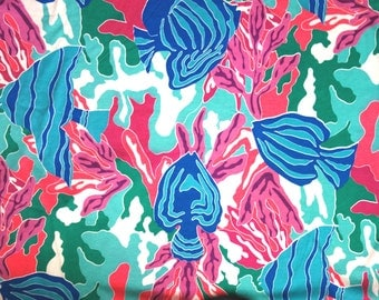 Tropical Fish Fabric, 1.3 Yards of Jersey T Shirt Knit Fabric with Tropical Fish, Coral, Aquarium, Ocean Pattern, Green, Blue, Pink, Purple
