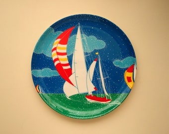 Vintage Snack Plate or Tray with Nautical Theme! Red, White, Yellow Sailboats by Mebel, 1980s Melamine Made in Italy, Art by Luciana Roselli