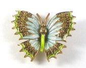 Capri Butterfly Brooch Pin Lime Green Baby Blue Enamel - Vintage Jewelry