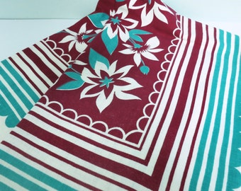 Charming 1950s Floral Tablecloth in Maroon & Turquoise with Flowers, Scallops and Stripes, Burgundy, Teal