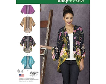 Woman's Kimono Jacket, Simplicity 1318 Misses' Kimonos with Length and Trim Variations- Easy to Sew Sewing pattern XSS-XXL new uncut