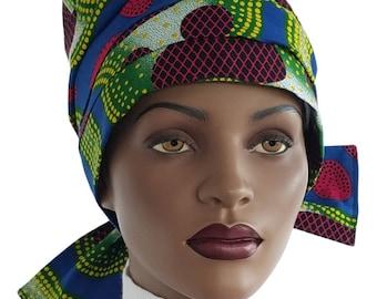 Nabru Turban Hat™ Cotton Turban Tie Wrap Blue Green Yellow Red African Print Cotton Turban Hat Satin Lined Head Turban Handmade