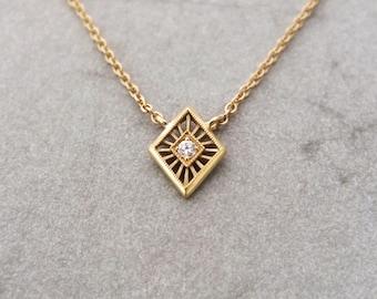 Tiny Art Deco 18k solid gold diamond necklace - diamond solitaire necklace - Rose gold necklace - yellow gold necklace - white gold necklace