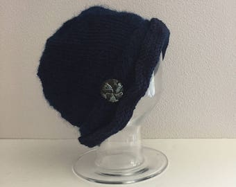 Wool blend blue knit cloche hat - navy blue knit hat with button