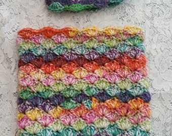 Crocheted Bright Colored Cocoon and Hat