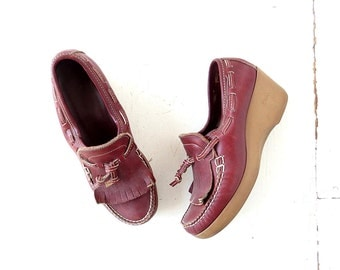 Vintage Platform Wedges | 1970s Shoes | Platform Loafers | Size 7 1/2