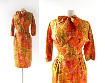 Vintage 60s Dress | The Beachcomber | Tiki Print Dress | 1960s Dress | XS