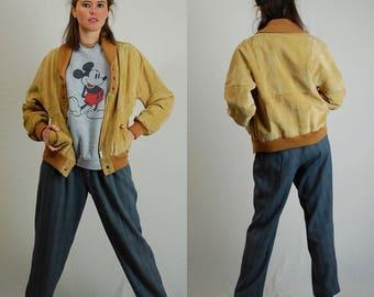 Suede Leather Jacket Vintage Tan Brown Genuine Suede Leather Distressed Folk Jacket (m l)