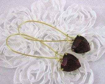 Ruby Red  Heart Earrings Vintage Czech Glass Love Jewelry Gift for Her Valentines Day Red Earrings Dangle Earrings Romantic Earrings