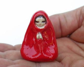Red Namaste Lady Ceramic Miniature Figurine Little Queen Folk Art