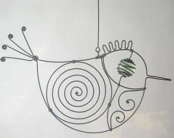 Wire Sculpture / Small Pale Green - Eyed Metal Bird