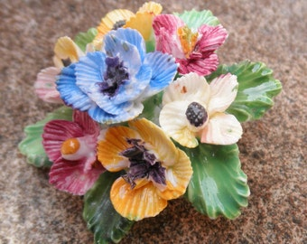 Vintage English Crown Staffordshire Porcelain Flower Cluster Brooch, Multicolored