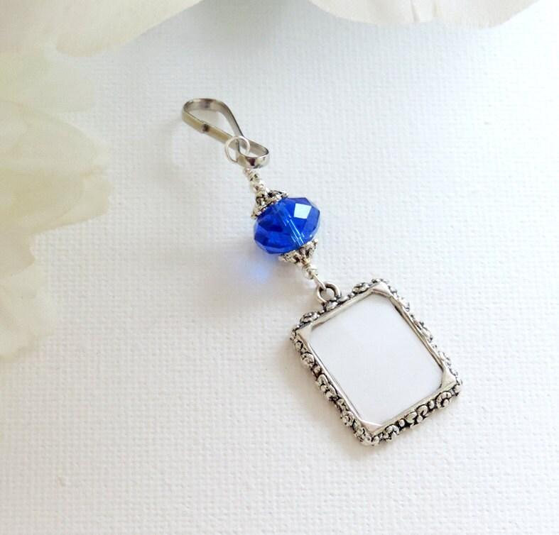 Blue Bridal Bouquet Charm : Wedding bouquet photo charm with deep blue by smilingbluedog