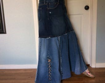 Long Denim Maxi Skirt/Blue Jean Skirt/Mermaid Skirt/Lace Up/Recycled Jeans/Upcycled Denim/Repurposed Clothing/Womens Size Large/Size 14/Tall