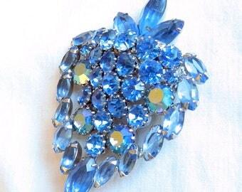 Juliana Strawberry Brooch Blue Rhinestones and Aurora Borealis Vintage D&E Verified