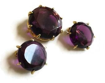 Grape Purple Cut Glass Brooch & Earrings Vintage Set
