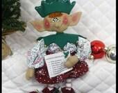 """Primitive Raggedy Folk Art Christmas~""""Elf Gregory""""~18"""" ElF w/Santa's List~"""
