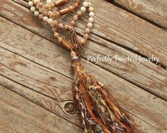 Shabby BoHo Tassel necklace, 108 Bead Mala, Golden Coral, Sunstone & Creamy Agate, Perfectly Twisted, Handmade Tassel Jewelry, Boho Mala