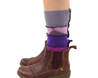 Grunge Leg Warmers in Mauve Purple and Fuchsia  - Mismatch Patchwork - Upcycled Wool Sweaters