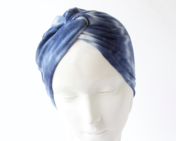 Turban Hat Adults Blue Tiedye Shibori Chemo Cap Hair Covering Chemo Turban Women's Full Turban Retro Accessory Stretch Turban Chemo Hat
