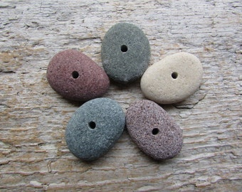 Large Natural Beach Stone Beads Drilled Stones 3mm