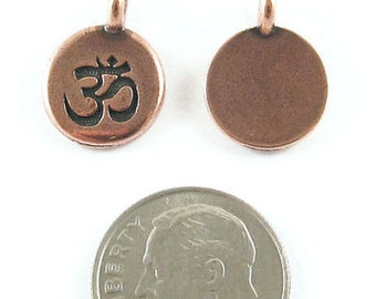 TierraCast Pewter Ohm Charms-COPPER ROUND OM 12x16mm (2)