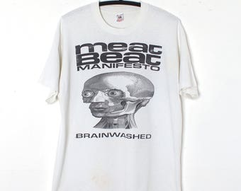 Vintage Meat Beat Manifesto T Shirt 1992 AUTOGRAPHED Brainwashed I Am A Zombie Tour 90s White XL Industrial Techno Music