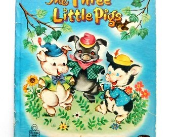 Vintage Children's Book , 1953 The Three Little Pigs Pictures by Louise Myers A Whitman Tell-a-Tale Book Adorable Bright Graphics Kids Book