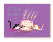 Let Them Eat Cake - Funny Birthday Card - Birthday Cat Card