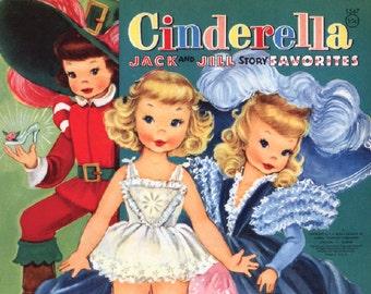 Digital | Print at Home | Paper Dolls Cinderella Vintage Retro 1950's