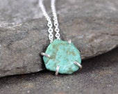Raw Turquoise Necklace - Turquoise Pendant - Rough Turquoise Nugget - December Birthstone - Sterling Silver Jewellery - Blue Gemstone