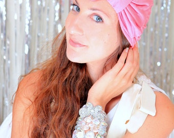 Turban Headwrap with Bow - Wide Headband in Coral Jersey Knit - Available in 24 Colors
