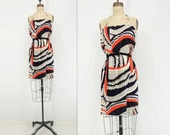 sale 70s Mini Dress 70s Op Art Dress 1970s Abstract Dress 1970s Vintage Dress Graphic Orange Dress Psychedelic Dress 70s Summer Dress L