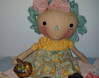 Primitive handmade Easter raggedy cloth doll, aqua raggedy doll, Easter gift, Easter decor