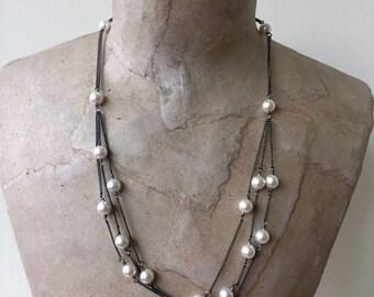 multistrand pearl necklace white