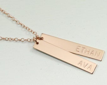 Rose gold necklace - mother necklace -  personalized necklace - kids name necklace - rose gold bar necklace - dainty mom jewelry - engraved