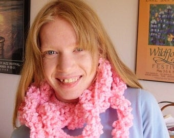 Pink Crocheted Boa Scarf