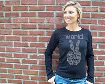 Peace sign, Womens T-shirts, World Peace shirt, peace shirt, feminist shirt, graduation, mothers day, peace t-shirt, gift for her, rctees