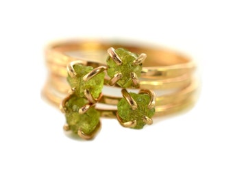 Raw Peridot Ring, Rough Gemstone Ring, August Birthstone Ring