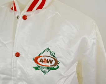 sale Vintage A&W Root Beer Satin Baseball Jacket size large made in USA NWT deadstock