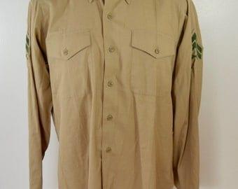 Vintage U.S. ARMY Khaki Long Sleeve Shirt Corporal Stripes infantry 1982