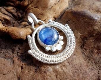 Kyanite Wire Wrapped Pendant ~ Sterling Silver, Kyanite Necklace, Wire Wrap, Handmade, Healing Stone Necklace, Art Nouveau, Elven, Unique