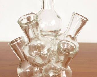 Mid Century Modern Cluster Vase /  Glass  / 7 Small Vases / Glass Flower Frog