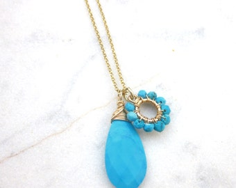 Gold turquoise charm necklace, blue stone briolette necklace, dainty gemstone pendant necklace, December birthstone, gold filled & vermeil