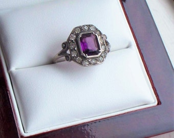 Antique Sterling Paste Ring - Amethyst, Paste, Glass, 925 Sterling, Ring
