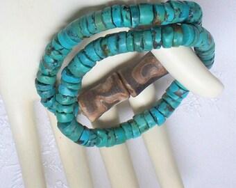 Southwestern Turquoise Heishi Bracelets - Pair, Chunky